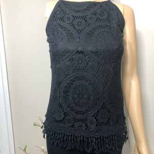 NWT black lace top with fringe bottom